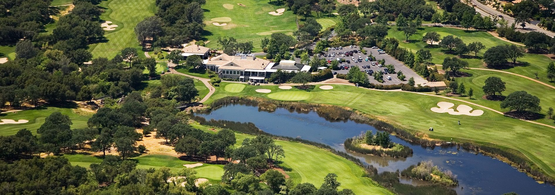 An aerial view of the Luxurious Granite Bay Country Club and golf course.